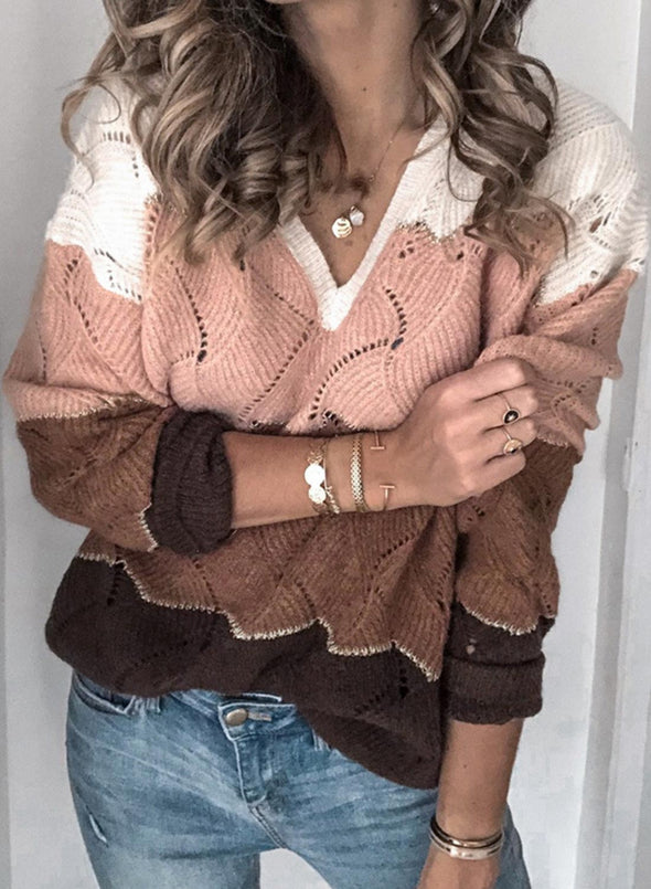 Pink Women's Sweaters Color-block Long Sleeve V Neck Cut-out Sweater LC2721005-10