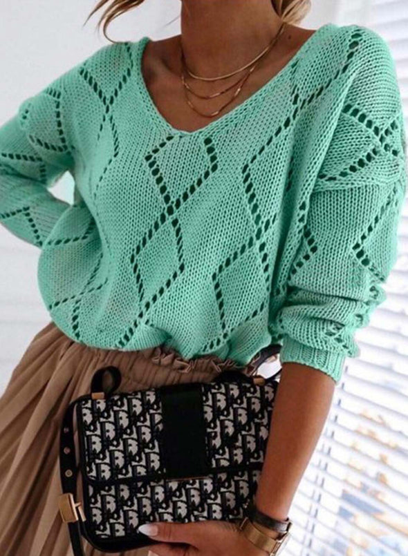 Green Women's Sweaters Knitted Hollow Long Sleeve V Neck Solid Cut-out Sweater LC272993-9