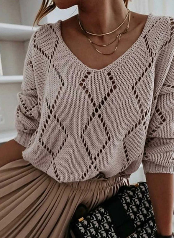 Pink Women's Sweaters Knitted Hollow Long Sleeve V Neck Solid Cut-out Sweater LC272993-10