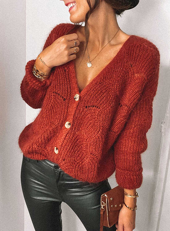 Red Women's Cardigans Solid Long-sleeve V-neck Casual Cut-out Cardigan LC271289-3