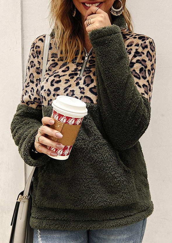 Green Leopard Splicing Plush Warm Sweatshirt - Army Green LC2535373-9
