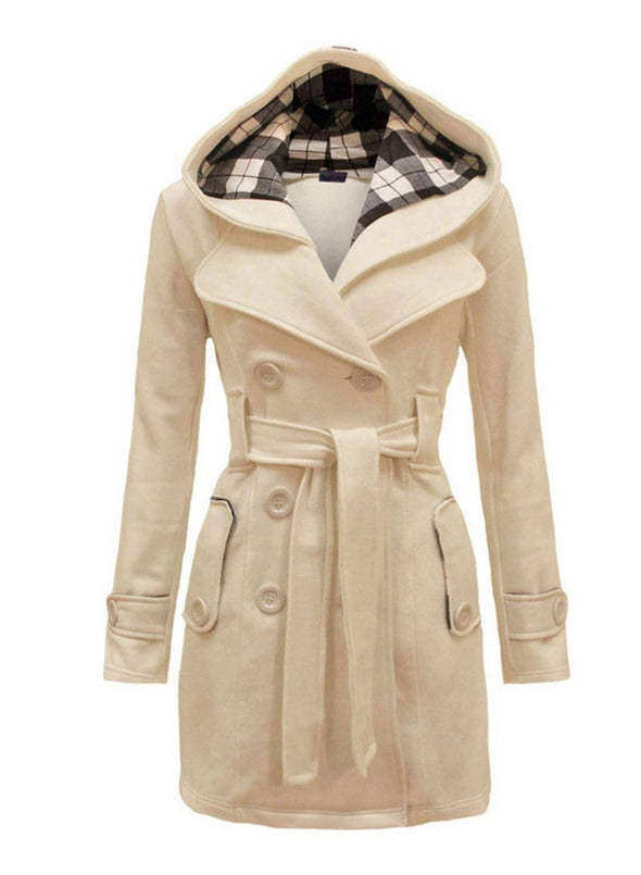 White Women's Coats Double-breasted With Checked Hooded Woolen Coat LC8511160-1