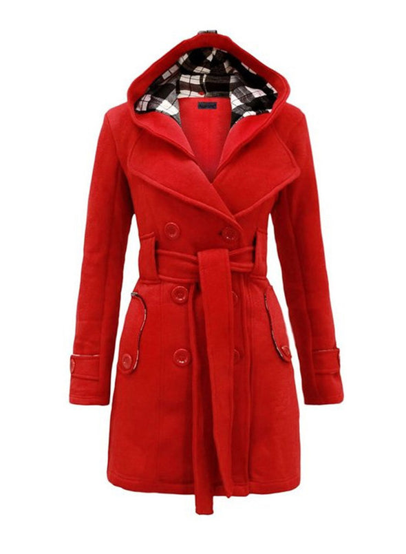 Red Women's Coats Double-breasted With Checked Hooded Woolen Coat LC8511160-3