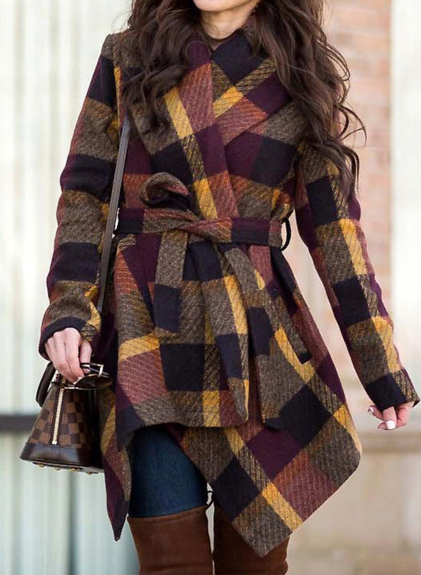 Brown Women's Coats Woolen Plaid Belt Long Sleeve Turn Down Collar Coat LC8511165-17