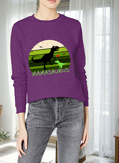 Purple Women's Sweatshirts Round Neck Long Sleeve Animal Print Solid Sweatshirts LC2535357-8