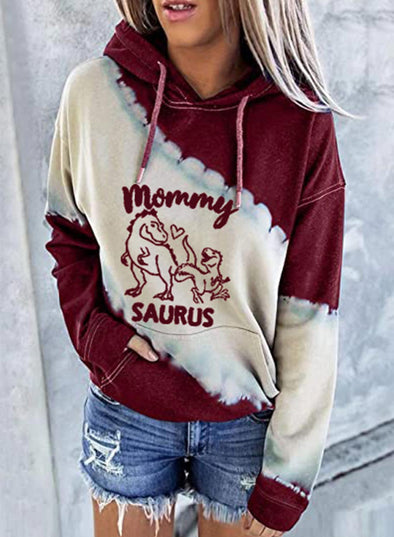 Red Women's Hoodies Color-block Letter&Animal Print Long Sleeve Hoodie LC2535365-3