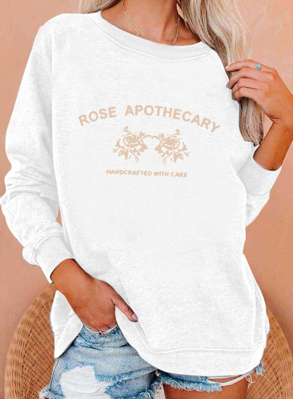 White Women's Sweatshirts Letter&Rose Print Long Sleeve Round Neck Sweatshirt LC2535383-1