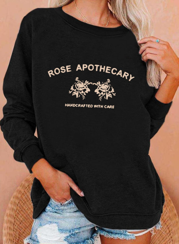 Black Women's Sweatshirts Letter&Rose Print Long Sleeve Round Neck Sweatshirt LC2535383-2