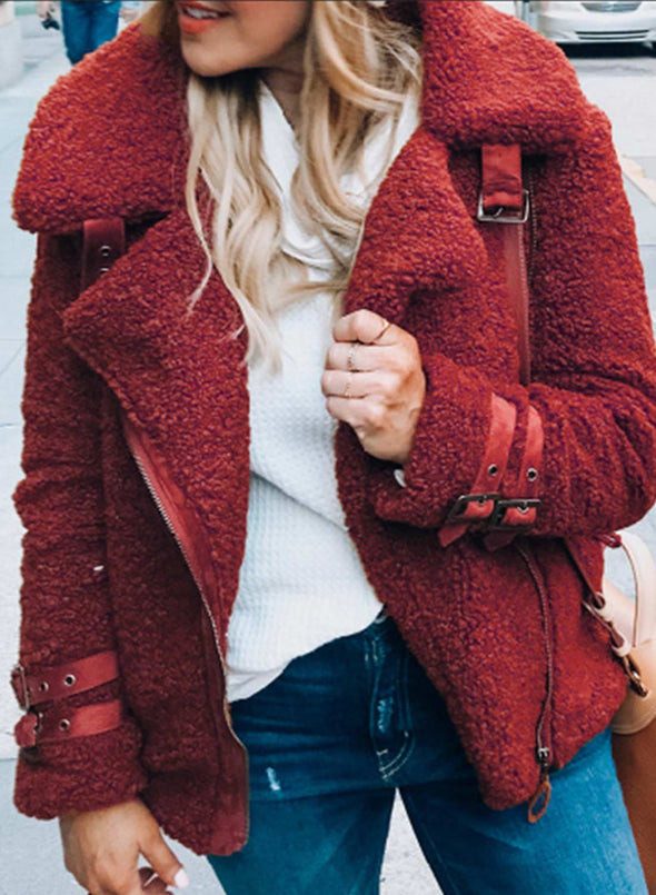 Red Women's Coats Solid Color Long Sleeve Zip Lapel Plush Coats LC8511169-3
