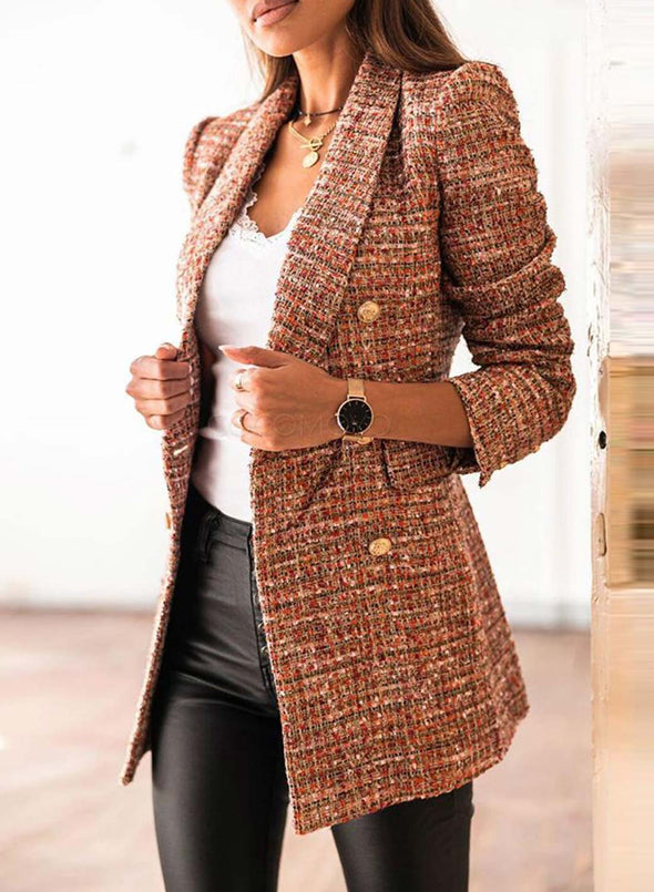 Brown Women's Coats Lapel Double Breasted Plaid Coats LC8511170-17