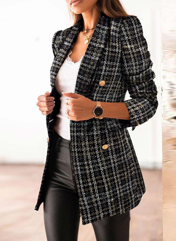 Black Women's Coats Lapel Double Breasted Plaid Coats LC8511170-2