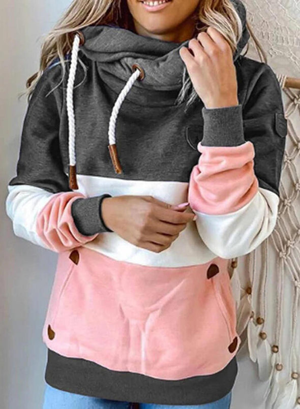Pink Women's Hoodies Color-block Long Sleeve Hoodie LC2535487-10