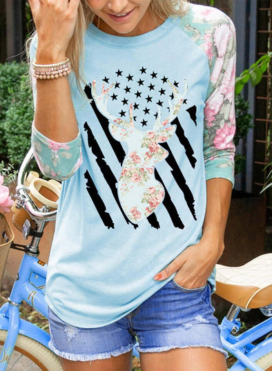 Sky Blue Women's Sweatshirts Floral Round Neck Long Sleeve Flag Sweatshirts LC2514654-4