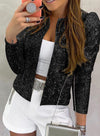 Black Women's Blazers Sequined Solid Blazers LC852178-2