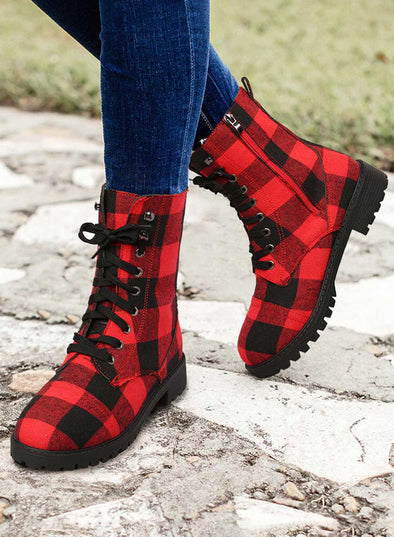 Red Women's Boots Plaid Synthe Leather Boots LC12637-3