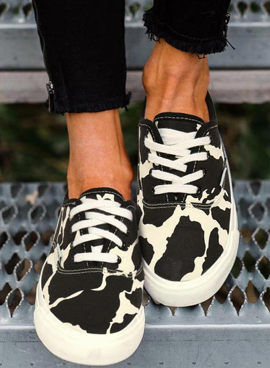 Black Women's Sneakers Cow Print Lace Up Round Toe Flat Sneakers LC12759-2