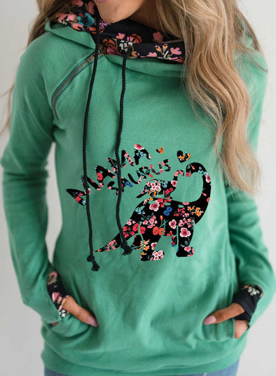 Green Women's Hoodies Floral Turtleneck Drawstring Long Sleeve Hoodies LC2535661-9