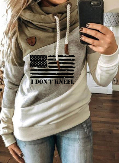 Green Women's Hoodies Pocket Flag Hoodie LC2534366-109