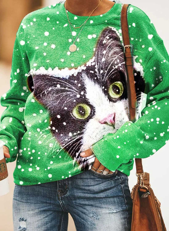 Green Women's Sweatshirts Animal Print Snowflower Color-block Christmas Long Sleeve Round Neck Sweatshirt LC2535674-9