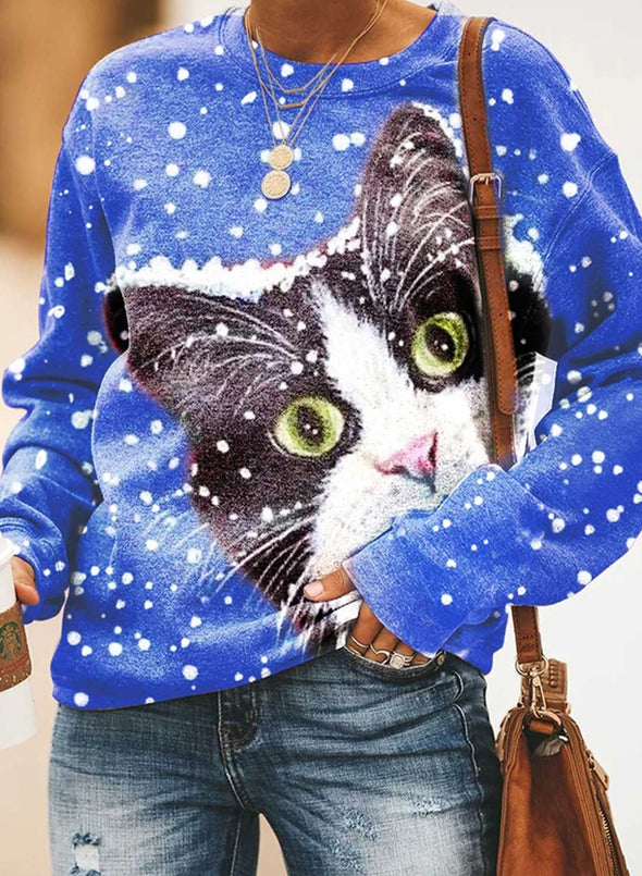 Blue Women's Sweatshirts Animal Print Snowflower Color-block Christmas Long Sleeve Round Neck Sweatshirt LC2535674-5