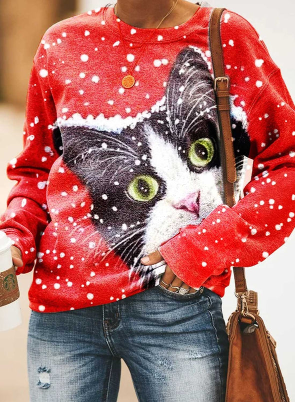 Red Women's Sweatshirts Animal Print Snowflower Color-block Christmas Long Sleeve Round Neck Sweatshirt LC2535674-3