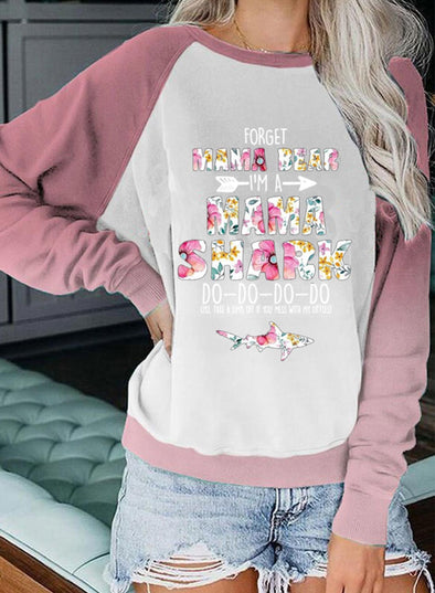 White Women's Sweatshirts Floral Letter Animal Print Color Block Long Sleeve Round Neck Sweatshirt LC2535678-1