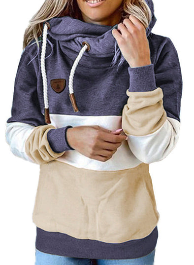 Purple Women's Hoodies Turtleneck Drawstring Long Sleeve Color Block Hoodies With Pockets LC2535738-8