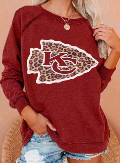 Red Women's Sweatshirts Leopard Letter Long Sleeve Round Neck Sweatshirt LC2535771-3