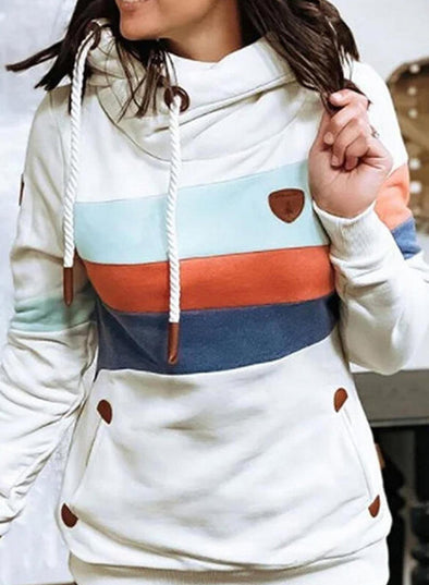 White Women's Hoodies Drawstring Long Sleeve Color Block Striped Hoodies LC2535779-1