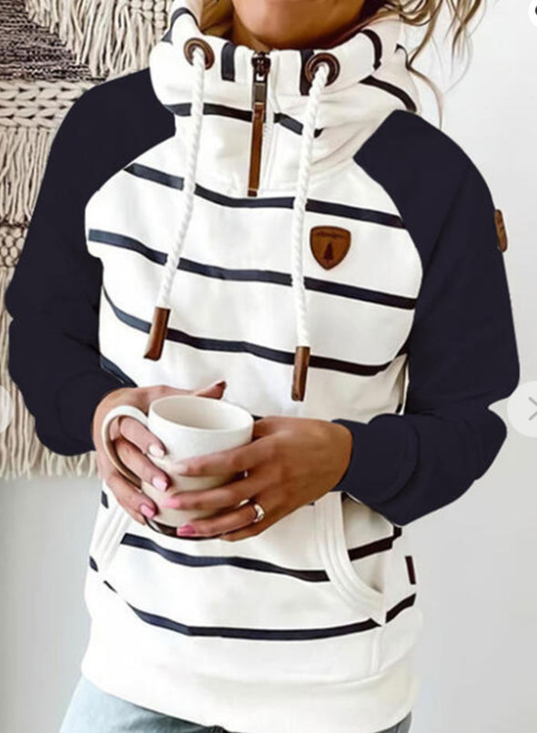 White Women's Hoodies Drawstring Turtleneck Long Sleeve Zip Striped Hoodies With Pockets LC2535782-1