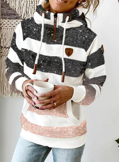White Women's Hoodies Drawstring Turtleneck Long Sleeve Zip Striped Hoodies With Pockets LC2535790-1