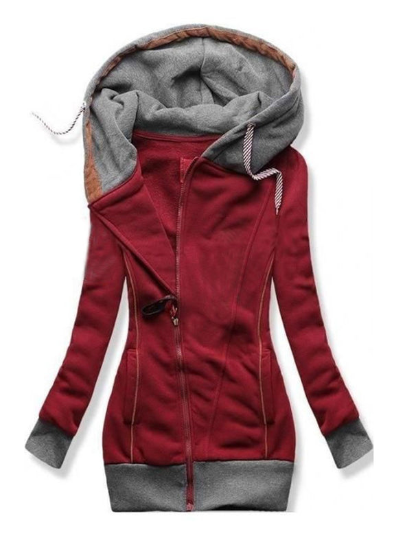 Red Crimson Hoodie Paneled Long Sleeve Outerwear LC2535924-3