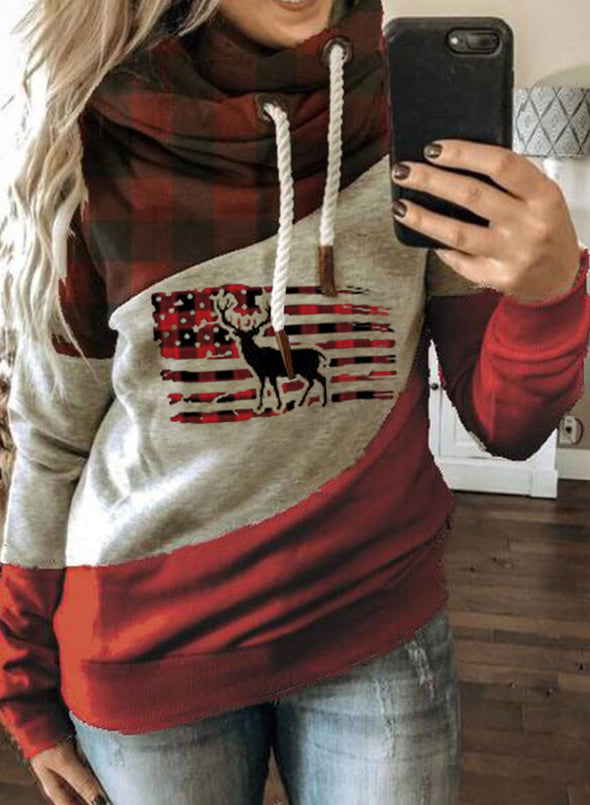 Red Women's Hoodies Plaid Color-block Flag Print Long Sleeve Hoodie LC2535871-3