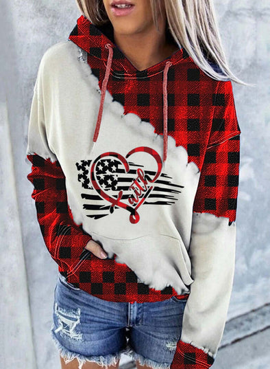 Red Women's Hoodies Drawstring Long Sleeve Plaid Flag Hoodies With Pockets LC2535895-3