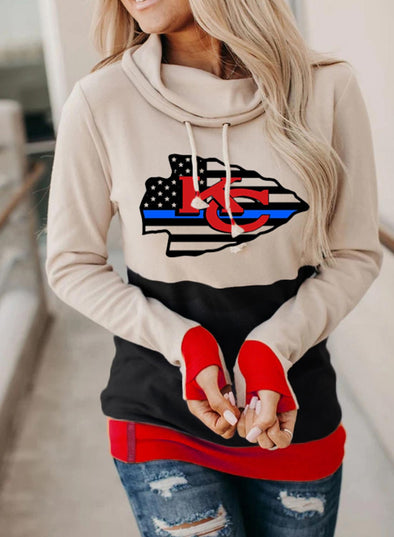 Multicolor Women's Hoodies Drawstring High Neck Long Sleeve Color Block Hoodies With Pockets LC2535896-22
