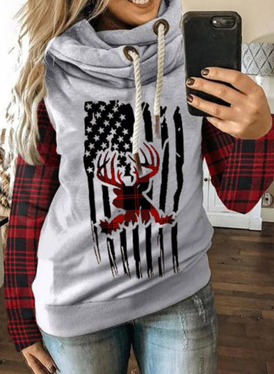 Red Women's Hoodies Drawstring Turtleneck Long Sleeve Plaid Flag Hoodies LC2535900-3