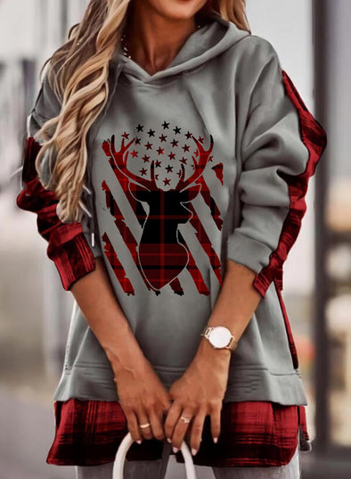 Gray Women's Hoodies Animal Print Plaid Color Block Flag Long Sleeve Hoodie LC2535919-11