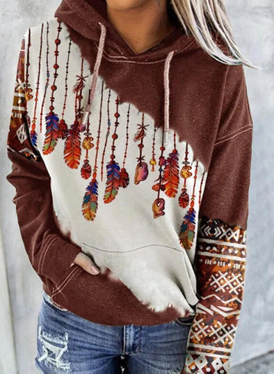 Brown Women's Hoodies Drawstring Long Sleeve Color Block Tribal Hoodies With Pockets LC2535959-17
