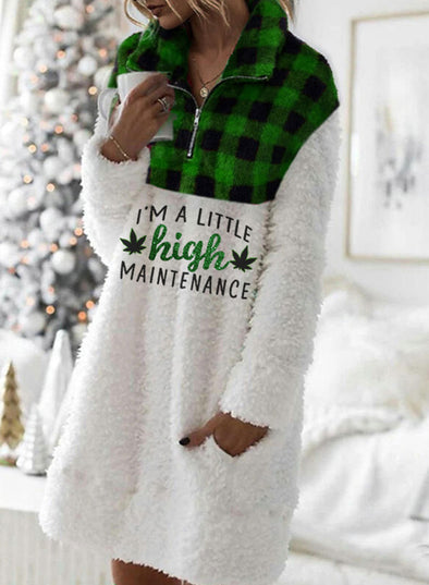 Green Women's Tunic Tops Plaid Color-block Christmas Letter Print Long Sleeve Stand Neck Tunic Top LC2514966-9