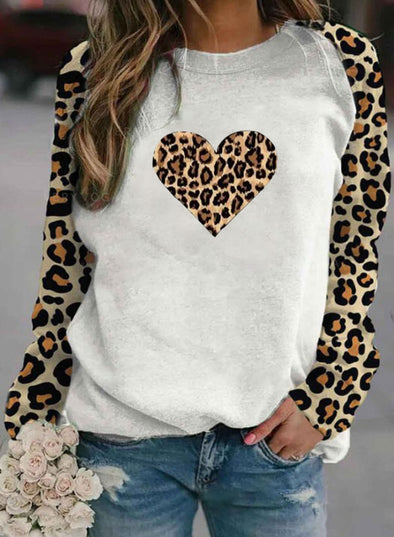 White Women's T-shirts Leopard Print Raglan Sleeve Long Sleeve Round Neck T-shirt LC2515028-1