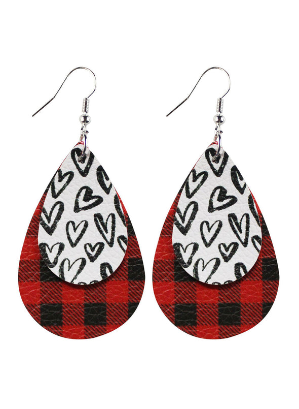 Red Women's Earrings Plaid Earrings LC011028-3