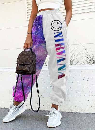 White Women's Joggers Letter Color Block Straight High Waist Full Length Joggers LC771193-1