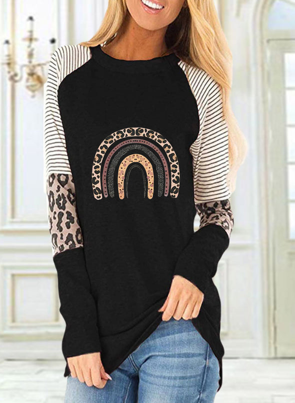 Black Women's Sweatshirts Round Neck Long Sleeve Leopard Striped Sweatshirts LC2515089-2