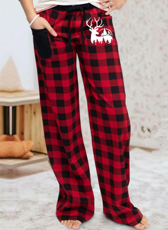 Red Women's Pants High Waist Plaid Straight Casual Palazzo Pants LC771204-3