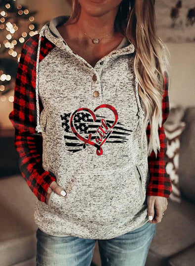 Red Women's Hoodies Drawstring Flag Long Sleeve Plaid Casual Hoodies With Pockets LC2536112-3