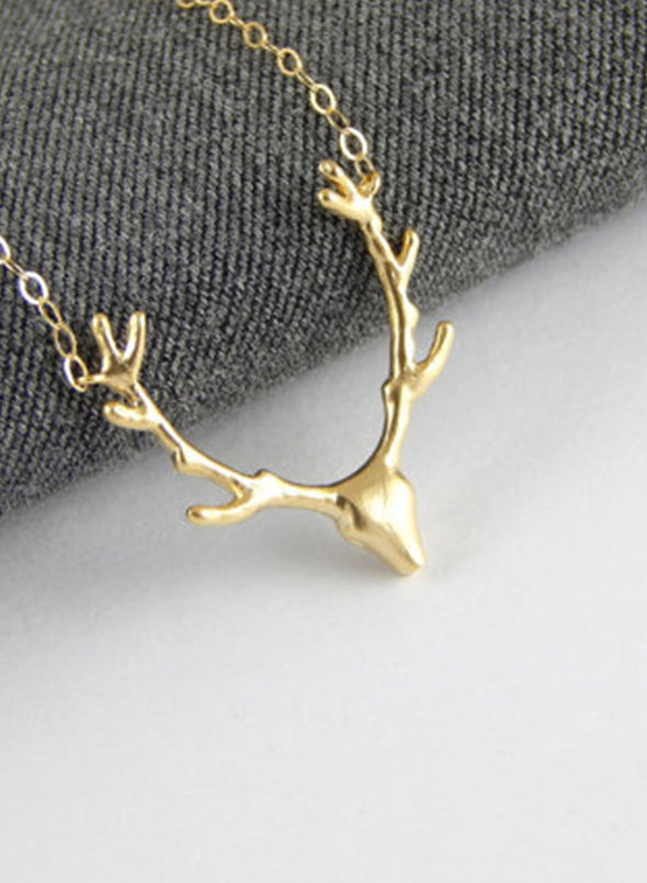 Gold Women's Necklaces Metal Antler Christmas Pendant Necklace LC011044-12