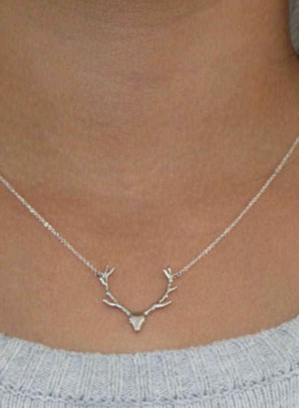 Silver Women's Necklaces Metal Antler Christmas Pendant Necklace LC011044-13