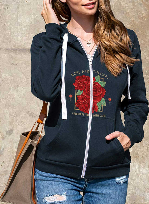 Blue Women's Coats Rose Letter Print Long Sleeve Hooded Casual Zipper Coat LC8511236-5