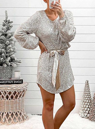 Silver Women's Mini Dresses Solid Long Sleeve A-line V Neck Party Belt Sequins Mini Dress LC224130-13