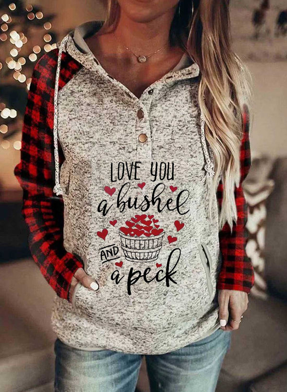Gray Women's Hoodies Plaid Letter Slogan Print Long Sleeve Button Pocket Casual Hoodie LC2536139-11